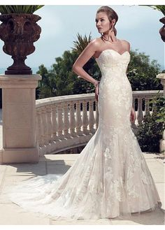 AMAZING TULLE MERMAID SWEETHEART NATURAL WAISTLINE WEDDING DRESS IVORY WHITE LACE BRIDAL GOWN