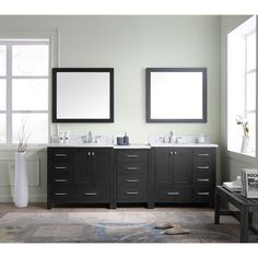 "Inspired by the Caroline, the Caroline Premium 90"" Double Bathroom Vanity Set with Mirror offers a clean sleek structure with abundant storage. The vanity is constructed from the finest plywood with a premium grade. The Caroline Premium 90"" Double Bathroom Vanity Set with Mirror also features an Italian Carrara  marble countertop and a matching backsplash. This striking vanity will be a great centerpiece to any bathroom design. Virtu USA has taken the initiative in ..."