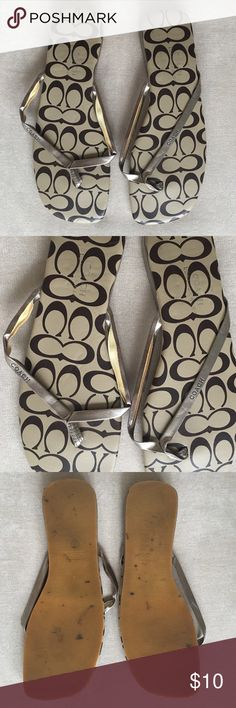 Coach Leatherware Golden Flip Flops Worn once so there are a few markings on the bottom as photographed and the straps have started to open so you would need to glue (?) them back. Coach Shoes Sandals