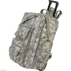 "NEW 23"" Digital Camo Water Resistant Travel Luggage Trolley Bag Backpack"