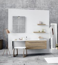 Make a combined bathroom, makeup room and dressing room with comfortable stools to rest on.