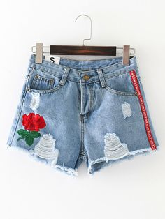 SheIn offers Ripped Raw Hem Denim Shorts & more to fit your fashionable needs. Short Outfits, Boy Outfits, Cute Outfits, Skirt Pants, Jean Skirt, Short Girls, Denim Shorts, Womens Fashion, Stylish Clothes