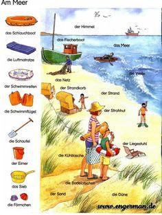 The sea - Worldpin. Study German, German English, German Grammar, German Words, German Resources, Deutsch Language, Germany Language, German Language Learning, English Language