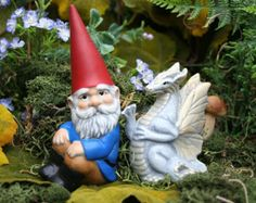 Garden Gnome & White Dragon Statue - 2 Piece Set - Fairy Garden Concrete Art