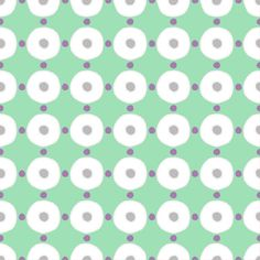 Gail Wright at Home Designer Fabric by the Yard - Modern Dot and Circle Mint, Gray, and White