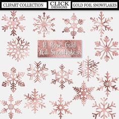 ROSE GOLD SNOWFLAKES Foil Digital ClipArt: Sparkle, frozen, winter, Christmas Printable Foil Rose Gold snowflakes clip art, Transparent Png