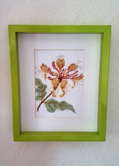 Cross Stitch Picture. Honeysuckle Embroidery.  Flower Cross Stitch. Framed…