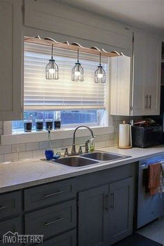 Over the Kitchen Sink Lighting. 20 Over the Kitchen Sink Lighting. Kitchen Sink Lighting, Kitchen Lighting Design, Design Kitchen, Light Above Kitchen Sink, Cabinet Lighting, Küchen Design, Home Design, Layout Design, Design Ideas