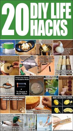 20 DIY LIFE HACKS. Aaaaah, I'm totally obsessed with these!! So many useful tips. Useful Life Hacks, Life Hacks