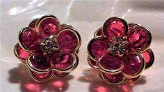 Vintage Avon Red Faceted Glass Rhinestone Flower Clip On Earrings  #Avon #DropDangle