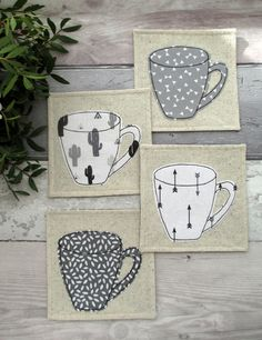 Coaster Set, Mug Coasters, Monochrome Coasters, Cactus Coasters, Arrow Coasters, Housewarming Gift, Modern Decor, Coffee Coasters by TheCornishCoasterCo on Etsy