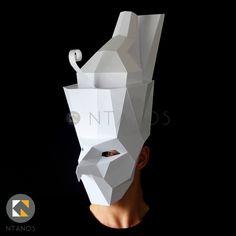 Egyptian God HORUS paper mask - Make it with this Low-Poly mask template Egyptian Mask, Egyptian Costume, Paper Mask Making, Low Poly Mask, Cool Masks, Awesome Masks, Samurai, Mask Template, Animal Masks