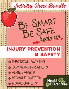 This bundle of Health EDventure activity sheets focuses on injury prevention and safety. Included in the bundle are three activities and guides. Topics included in the bundle are: community, fire, and bicycle safety. Find over 330 learning activities at the Health EDventure store