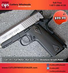 "Colt 1911 Full Metal ""Rail Gun"" CO2 Blowback Airsoft Pistol - Two Tone Buy Now: 1.877.286.4139 . . #gun #daliygun #weapons #gunporn #revolver #metalhead #airsoftgun #SpringPistols #softgun #blankgun"
