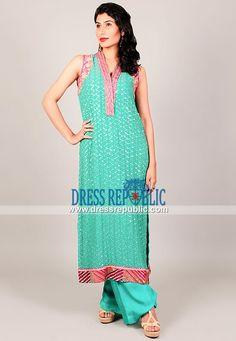 Designer Indian / Pakistani Dresses Online in Aquamarine Color