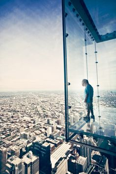 Willis Tower 103 floor sky deck in Chicago. James and I did this a couple of years ago!!! Never. Again.