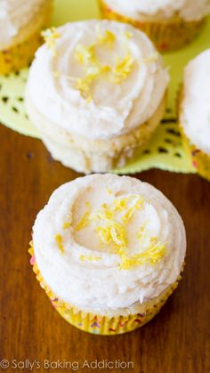 These sunshine sweet homemade lemon cupcakes with vanilla frosting are incredibly soft and bursting with lemon flavor!