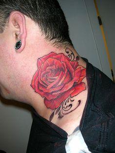 Tattoo Ideas: Rose Tattoo For Men On Neck, tattoos for men drawings, rose tribal tattoos men Red Flower Tattoos, Rose Tattoos For Men, Sleeve Tattoos For Women, Feather Tattoos, Trendy Tattoos, Tattoos For Guys, Cool Tattoos, Wing Tattoos, Tattos