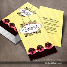 Cute and whimsical cupcake bakery business cards pinterest cake pops bakery business cards created by socialitedesigns reheart Gallery