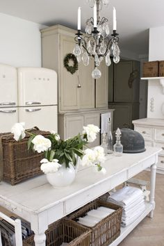 country chic-(utilizing baskets and bins where storage area is lacking.)