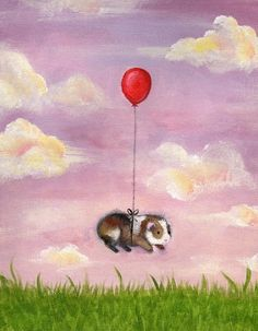 Guinea Pig With Balloon Art Print by WhenGuineaPigsFly on Etsy