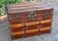 Antique Steamer Trunk Chest Flat Top With Original Working Key Wood Slats…