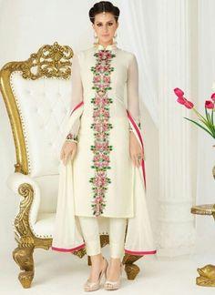 Off White Embroidery Work Georgette Chiffon Designer Fancy Churidar Suit http://www.angelnx.com/Salwar-Kameez/Churidar-Suits