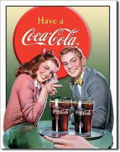 Plaque publicitaire americaine vintage - Coca Cola Young Couple - Déco Américaine