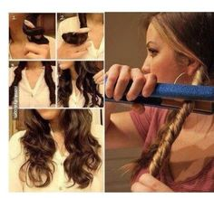 Awesome Hair Hacks For Every Type Of Hair - To get simple, laidback waves, twist sections your hair and then run a hair straightener down the sections. How to curl your hair without any damaging heat? Curled Hairstyles, Easy Hairstyles, Hairstyle Ideas, Wedding Hairstyles, Party Hairstyle, Updo Hairstyle, Curl Hair With Straightener, Hairstyles With Straightner, Curling Hair Hacks