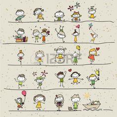 disegno a mano cartoon bambini felici che giocano Archivio Fotografico