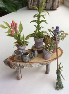 Fairy's Work by Olive Miniatures Gardening Bench