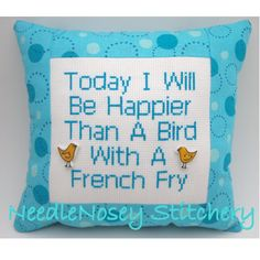 Cross Stitch Pillow Funny Quote Blue Pillow Bird by NeedleNosey,