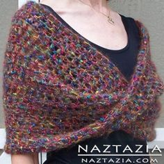 How to Crochet the Mobius Shawl Wrap - Naztazia - - The crochet mobius shawl wrap is soft, comfortable, and easy to make! The twist in the middle of the shawl pattern adds interest to the piece! Crochet Shawls And Wraps, Knitted Shawls, Crochet Scarves, Crochet Clothes, Crochet Vests, Crochet Shirt, Crochet Capelet Pattern, Crochet Patterns, Crochet Edgings