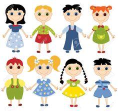 Conjunto De Niños De Dibujos Animados. Ocho Niños Felices. En El ...