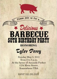 Customize Your Own Barbeque Birthday Invitation Bbq Invitations Beer 50th