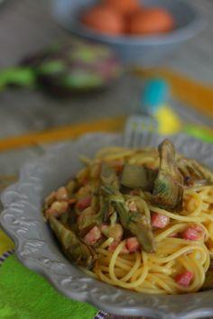 Carbonara con carciofi ricetta facile e veloce