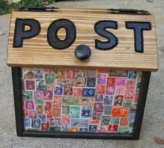 Snail mail box with postage stamp decor