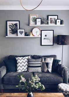 Wall Art is not just pictures and frames. Use pictures ledges to add clocks, fai… Wall Art is not just pictures and frames. Use pictures ledges to add clocks, fairylights and ornaments to create an exciting display. Home Living Room, Living Room Designs, Small Apartment Living, How To Decorate Living Room Walls, White Living Rooms, Apartment Wall Art, Grey Walls Living Room, Living Room Prints, Living Room Clocks