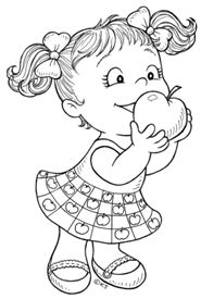 Girl with apple Coloring Page Coloring Book Pages, Coloring Sheets, Digi Stamps, Copics, Printable Coloring, Coloring Pages For Kids, Colorful Pictures, Clipart, Line Art