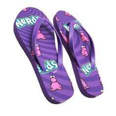 Nerds Candy Purple Flip Flops Best Candy, Favorite Candy, Novelty Items, Novelty Gifts, Jordan Flip Flops, Shoes Heels Boots, Heeled Boots, Sneaker Heels