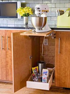 Pop-up mixer stands provide a base for stand mixers when in use and allow you to conveniently store mixers in lower cabinetry.
