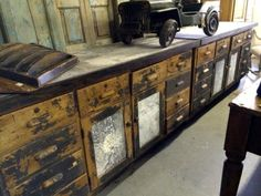 """Pair of Antique Store Counters With Zinc Tops and Door Panels   Each piece is 6' Wide x 37.5"""" High x 25"""" Deep   Parkhouse Antiques  114 Parkhouse  Dallas, TX 75207  Call for appointment.  Li"""