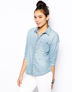 Image 1 ofOnly Roll Sleeve Denim Shirt
