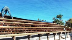 Roof Replacement in progress, roof tiles have been removed, roof structure inspected Exposed Trusses, Roof Trusses, Roof Structure, Roof Tiles, How To Remove, Construction, Building