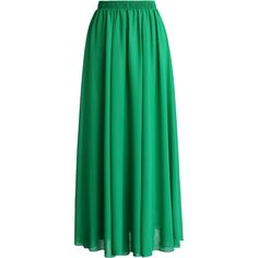 Chicwish Emerald Green Chiffon Maxi Skirt ($38) ❤ liked on Polyvore featuring skirts, bottoms, saias, long skirts, green, green pleated maxi skirt, green skirt, chiffon skirt and green chiffon skirt