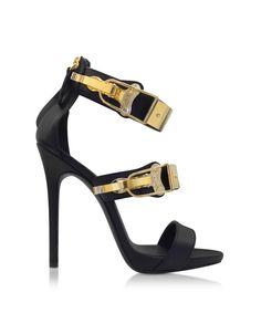 3eafc685b39 Giuseppe Zanotti Black Leather sandal w Metal Details at FORZIERI Shoe  Department