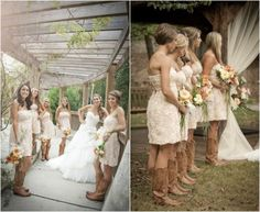 wedding dress and boots | Rustic Wedding With Bridesmaids In Cowboy Boots - Rustic Wedding Chic