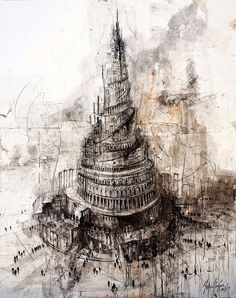 Gustavo Díaz Sosa is one of the represented artists by the gallery Victor Lope Contemporary Art High Fantasy, Fantasy Art, Turm Von Babylon, Tower Of Babel, Unusual Art, Gravure, Religious Art, Art Pages, Worlds Of Fun