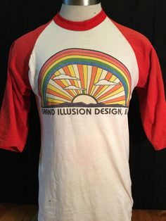 Vintage 198's Raglan 50/50 T-Shirt  Large Bright Colors Rainbow by 413productions on Etsy
