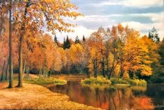 Autumn Scenery in Art - Lake, Autumn, Painting, Trees